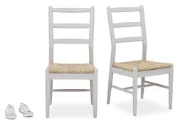 Pair of Hobnob Kitchen Chairs in Pale Grey