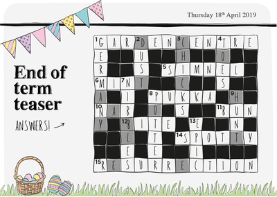 EASTER CROSSWORD BLOG ANSWERS
