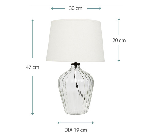 Flute small glass table lamp with linen