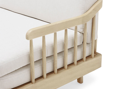 Kipster solid oak upholstered daybed corner detail