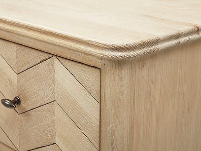 Tall Flapper wooden tall boy top detail