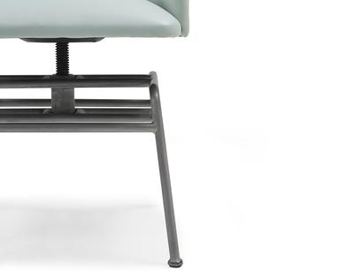 Milkshake retro leather dining chair adjusttable leg detail