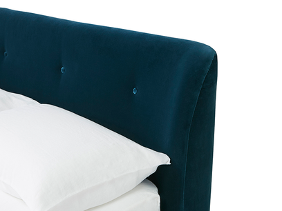 Puffball bed curved headboard