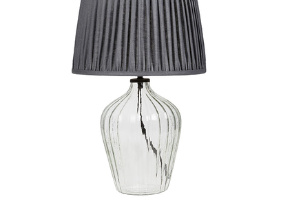 Flute small glass table lamp with Graphite pleated shade