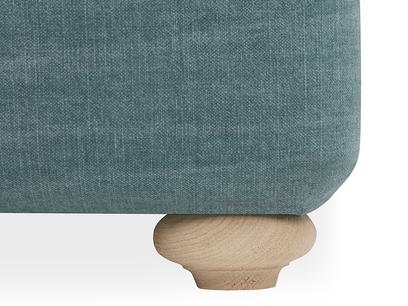 Pillow Talker feather filled headboard bed leg detail
