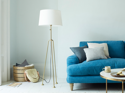 Shutterbug Brass Three Legged Standing Floor Lamp