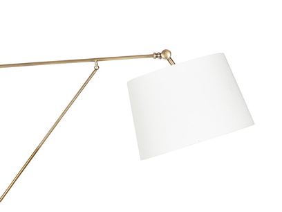 Yard Arm Brass Wall Light With Hessian Shade Side View