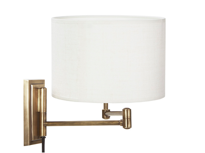 Page Turner Adjustable Wall Light With Hessian Lampshade Retracted