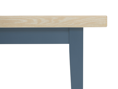 Plonk in heritage blue kitchen bench leg detail