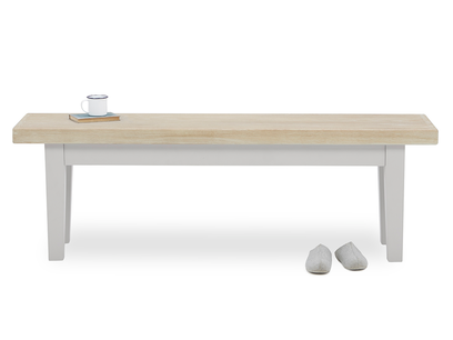 Plonk in pale grey kitchen bench front view with prop