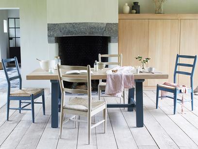Trestle blue table