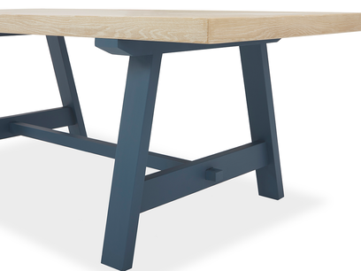 Trestle Kitchen Table in Blue Corner View