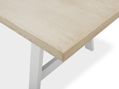 Trestle Kitchen Table in Grey Oak Top Detail