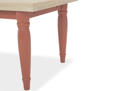 Scullery oak top dining table in rust leg detail
