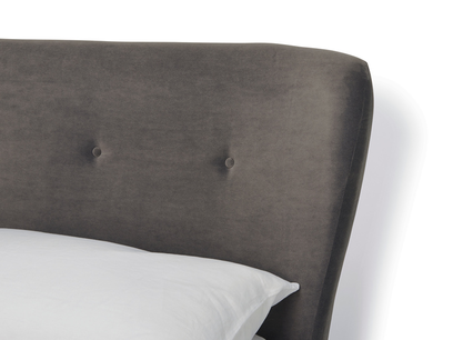 smoke upholstered bed headboard