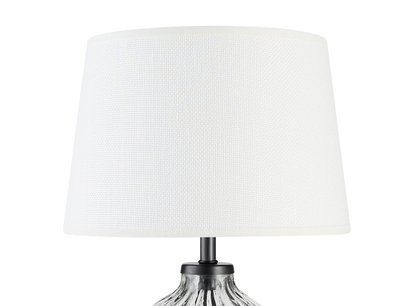 Mini Flute table lamp in a Natural Hessian shade