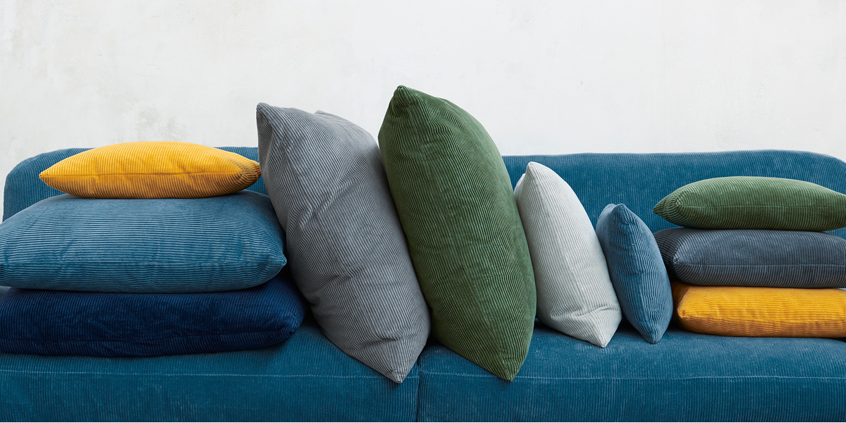Clever Cord range corduroy colourful fabric sofa and cushions