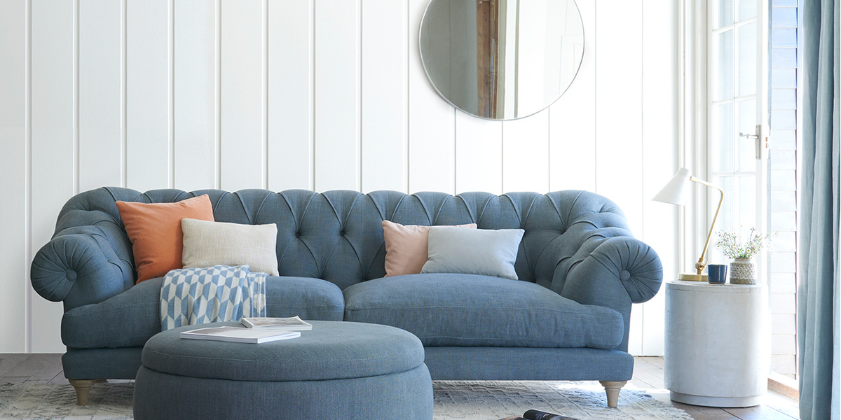 Bagsie sofa in Anchor Grey clever laundered linen