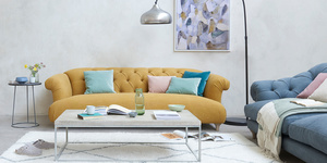 Dixie sofa in Mellow Yellow clever laundered