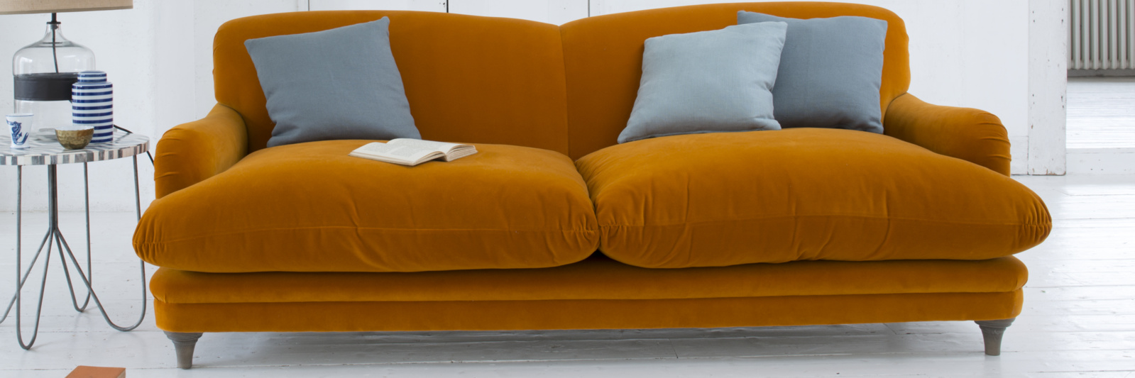 Orange velvet Pudding sofa