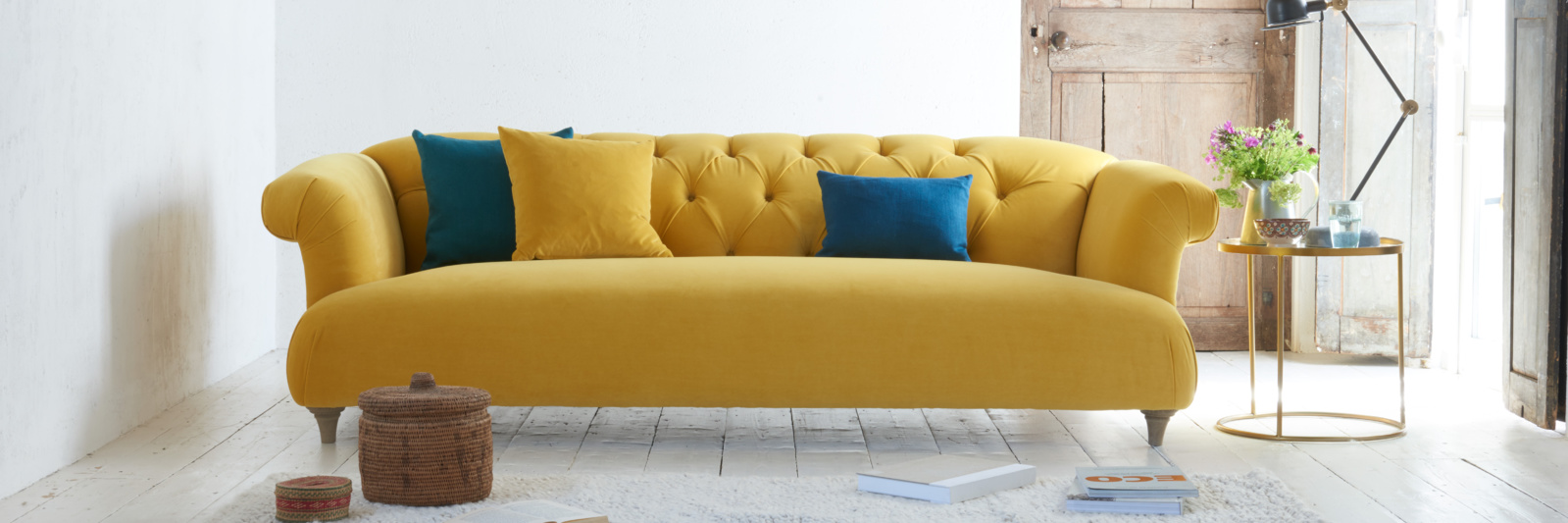 Dixie yellow velvet sofa