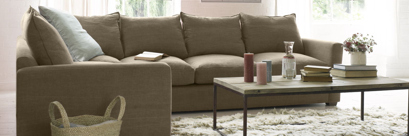Pavilion corner sofa in brown fabric