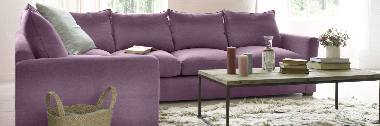 Pavilion chaise sofa in purple fabric