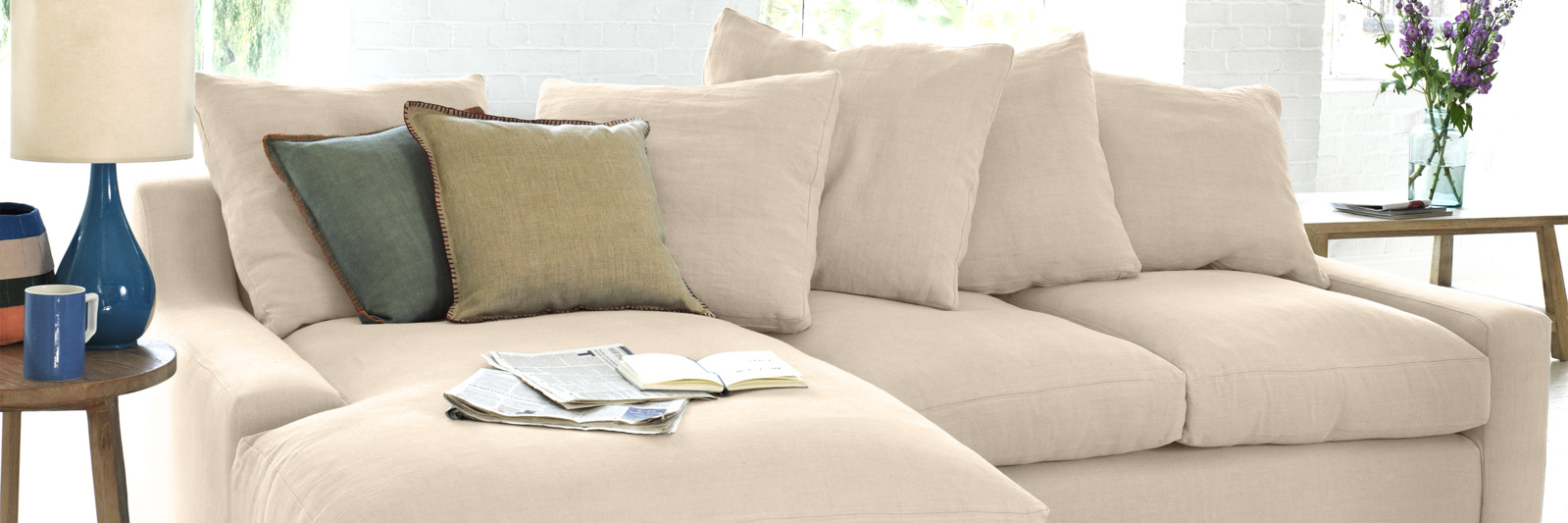 Cloud chaise sofa in neutral  fabric