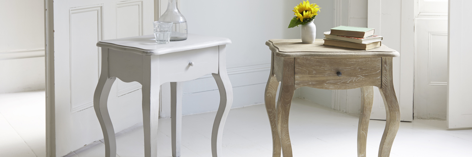 French style wooden oak bedside tables