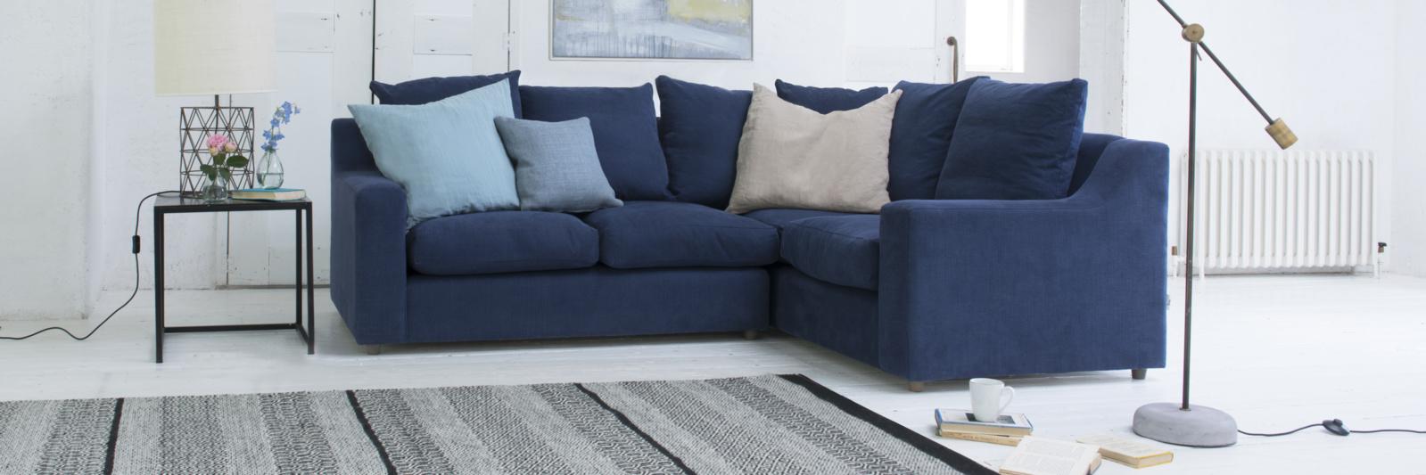 Contemporary comfy British made cloud corner sofa