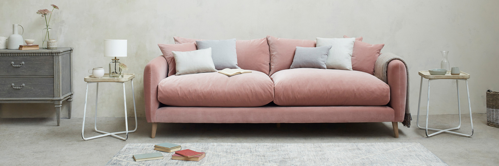Squishmeister Feather Filled Back Cushions Sofa with solid oak legs