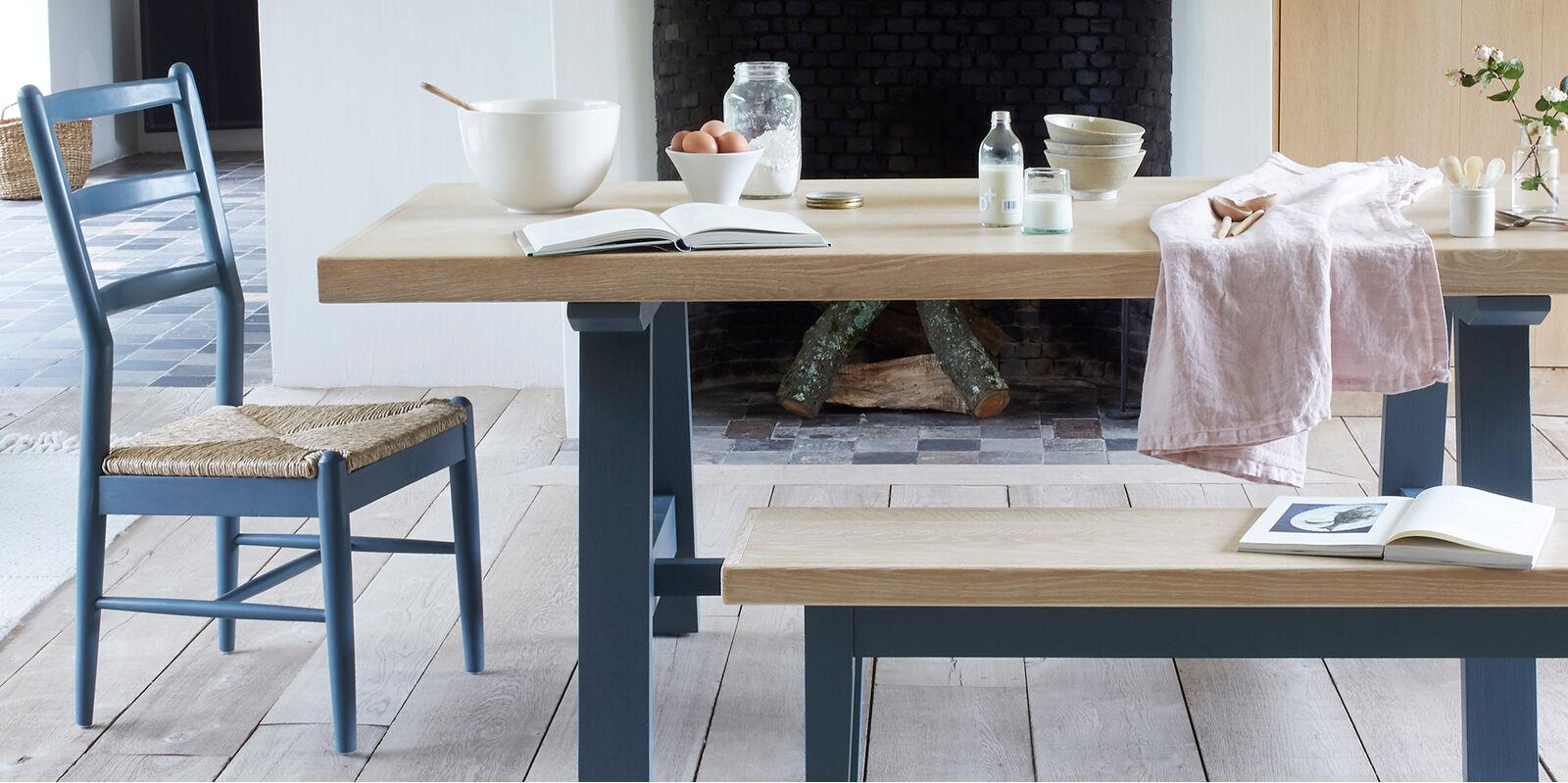 Trestle blue painted kitchen table