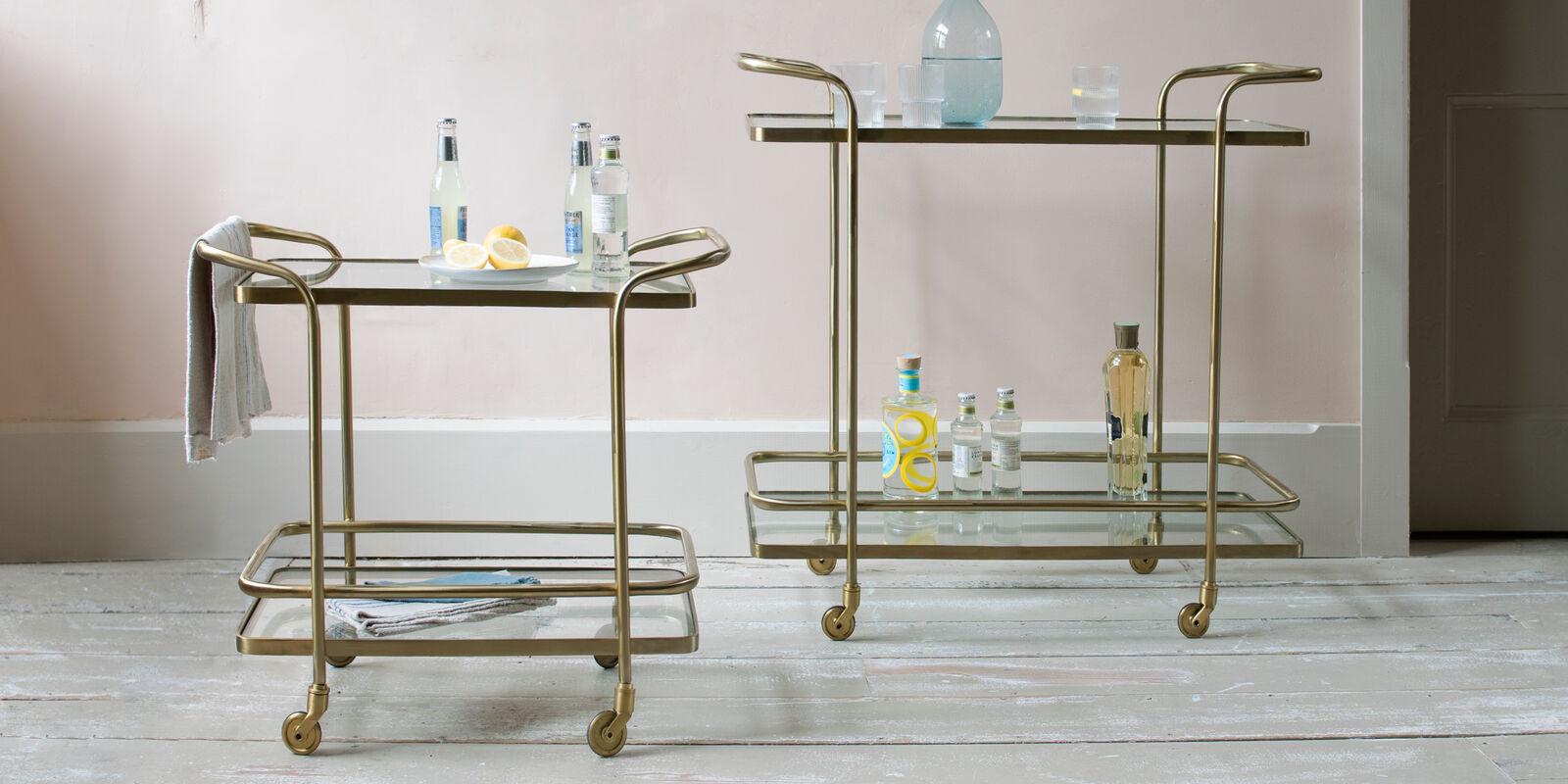 Antique brass drinks trolley range