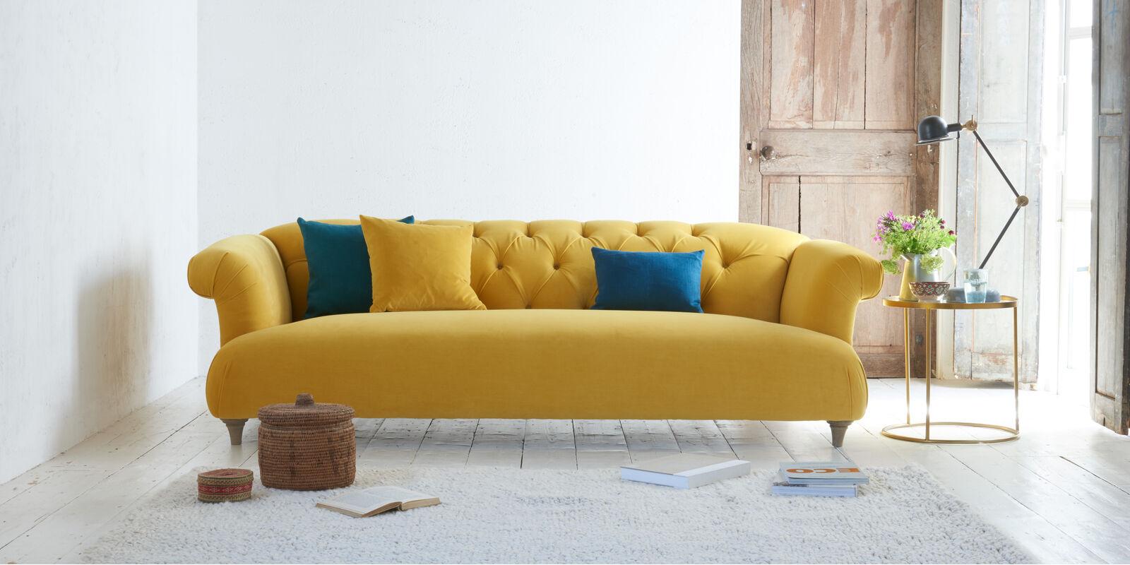 Dixie yellow velvet sofa
