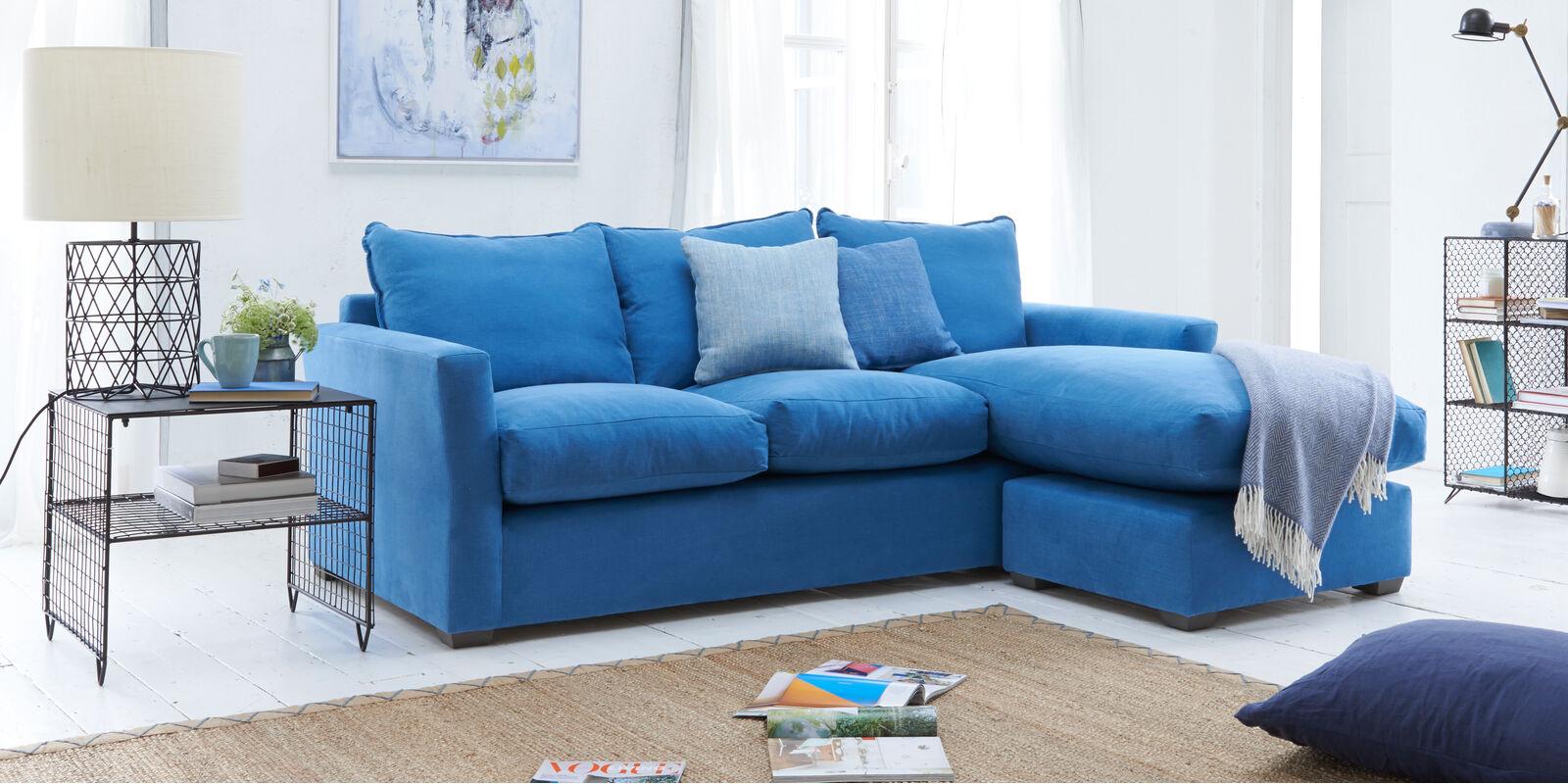 Gorgeous British made contemporary pavilion chaise corner sofa