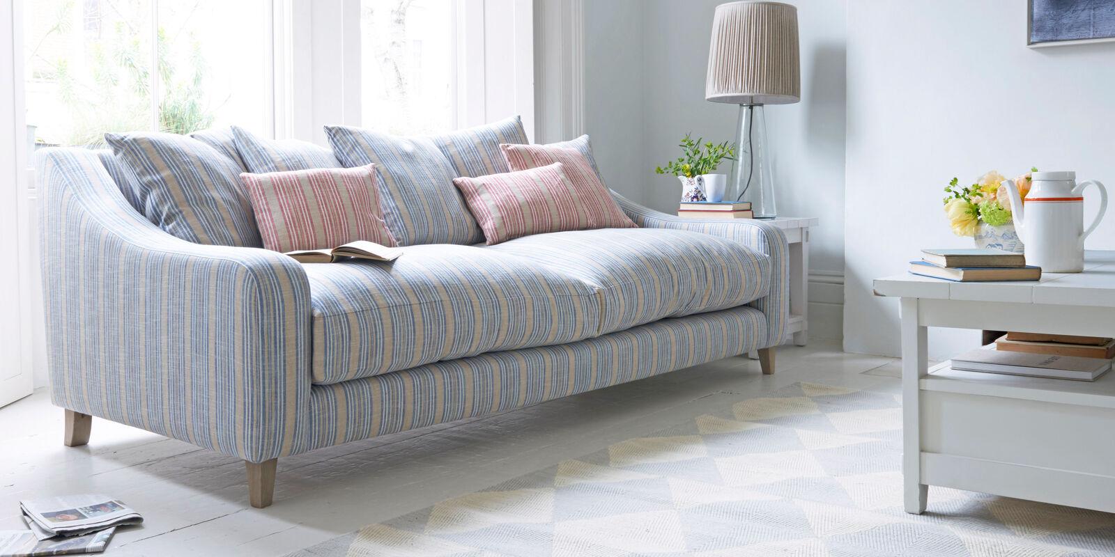 Oscar deep sofa in striped fabric