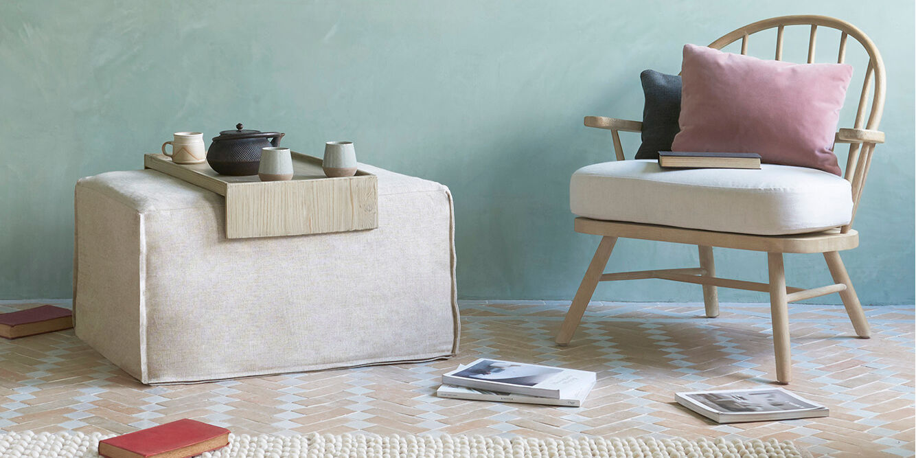 Multi Storey Pouffe with Coffee Table Tray