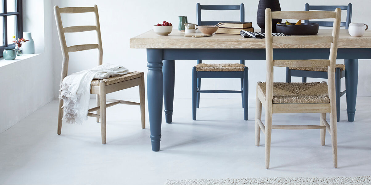 Scullery blue painted kitchen table