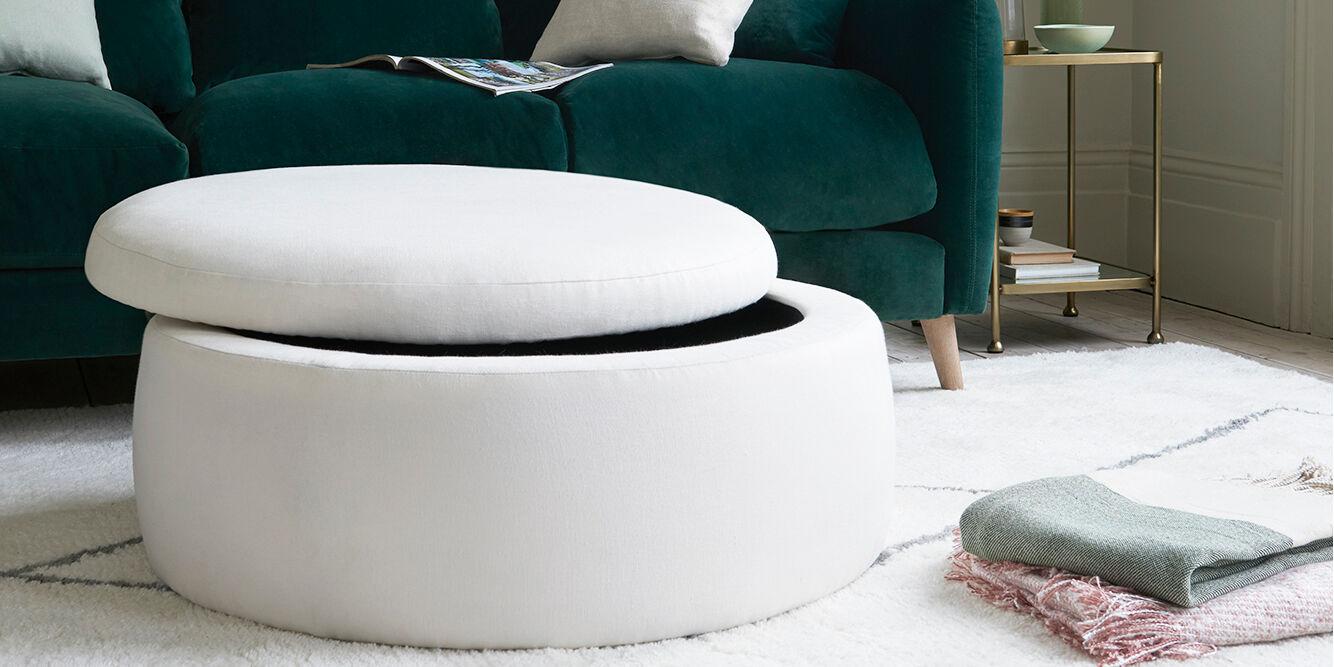 Pot Pie upholstered round storage footstool open
