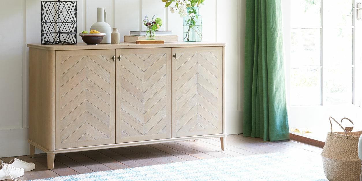 301715 grand fandangle parquet style wooden sideboard