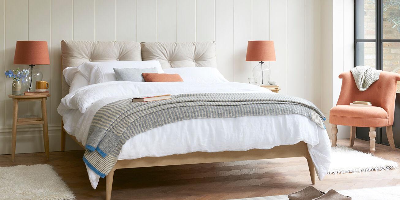Noggin handmade bed with upholstered headboard