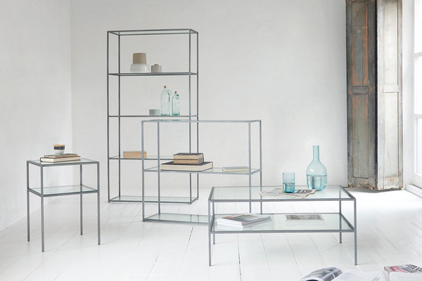 Wolfie glass and metal shelf range