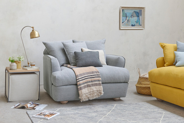 Smooch Low Arm Upholstered Cushion Back Loveseat