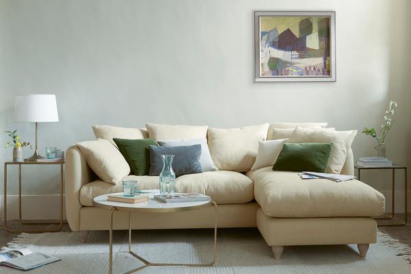 Podge Squishy Fabric L shaped Chaise Sofa