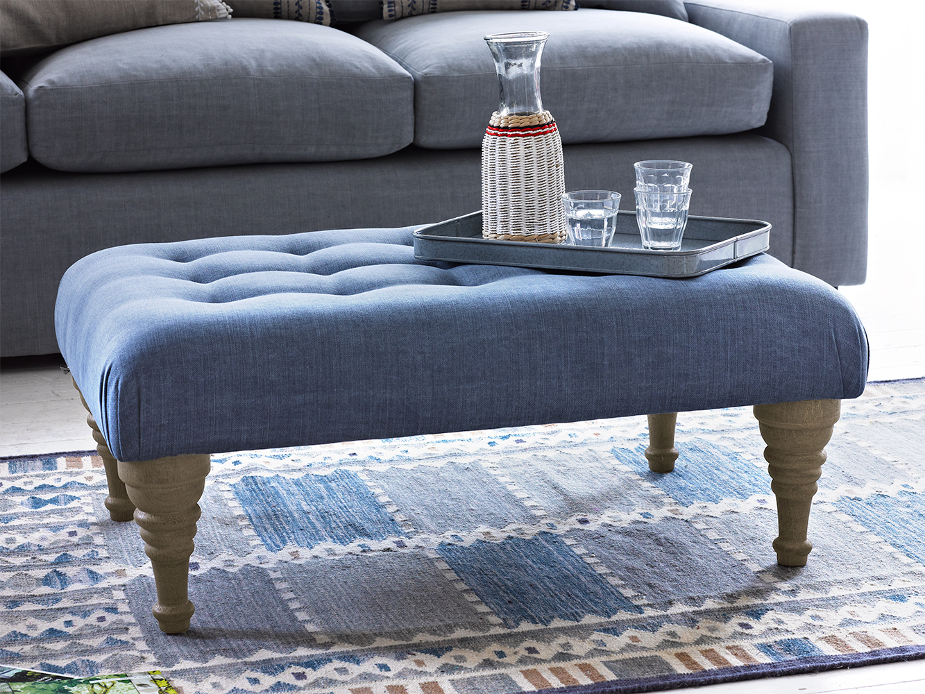 Bloomer Footstool Thatch House Fabric