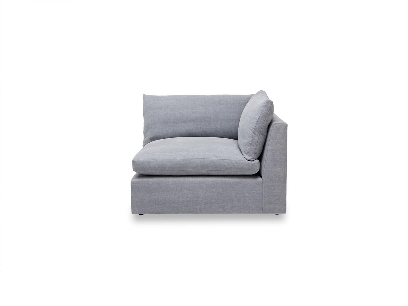 Large left hand Cuddlemuffin Modular Corner Sofa in Thatch house fabric