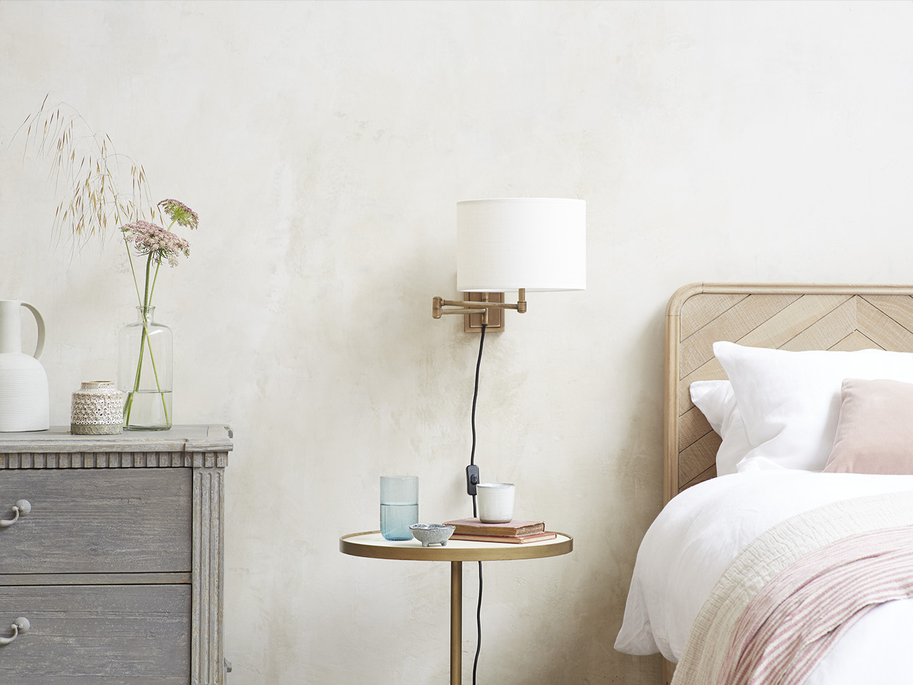 Page Turner Wall Lamp With Natural Hessian Shade