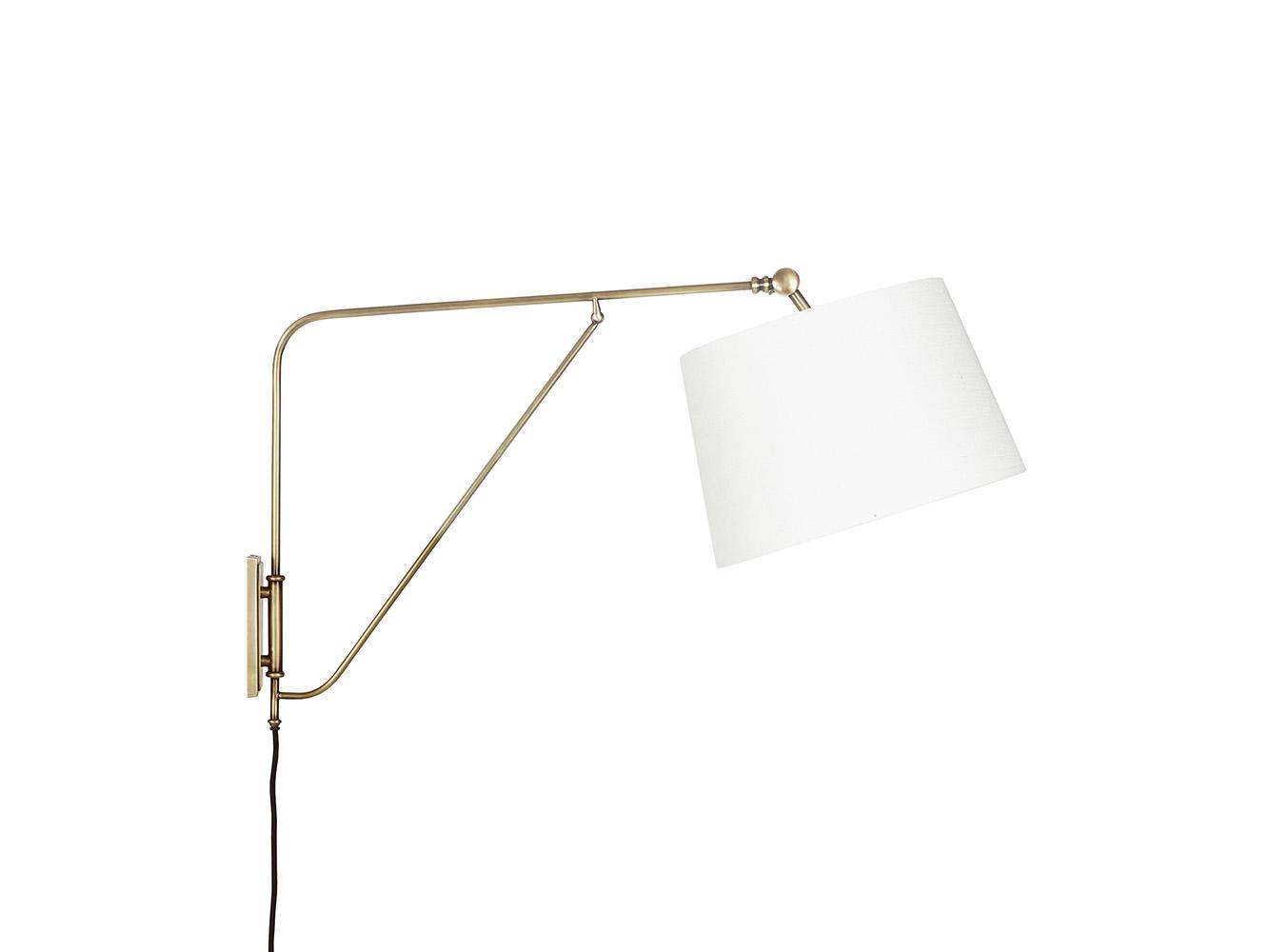 Yard Arm Wall Lamp With A Natural Hessian Shade