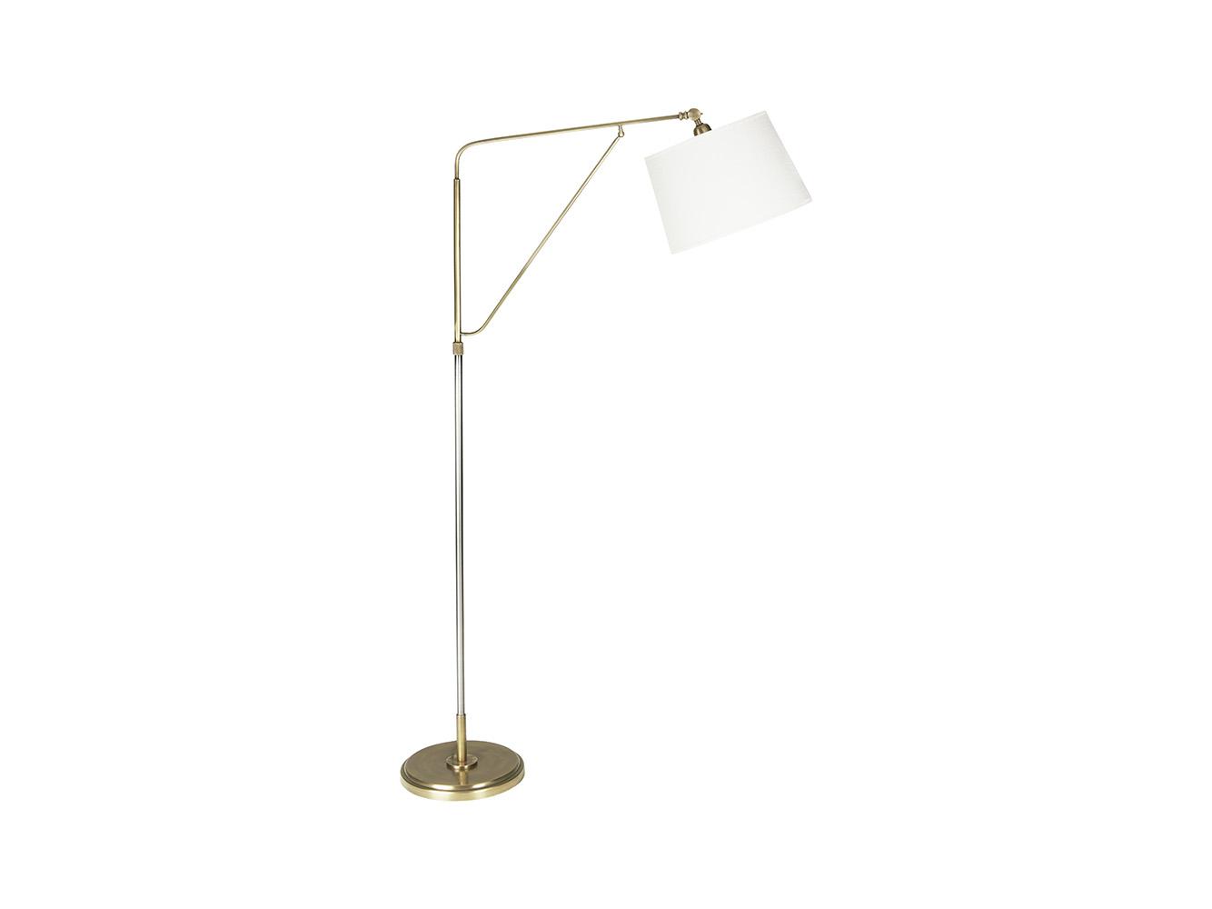 Yard Arm Floor Lamp With Natural Hessian Shade