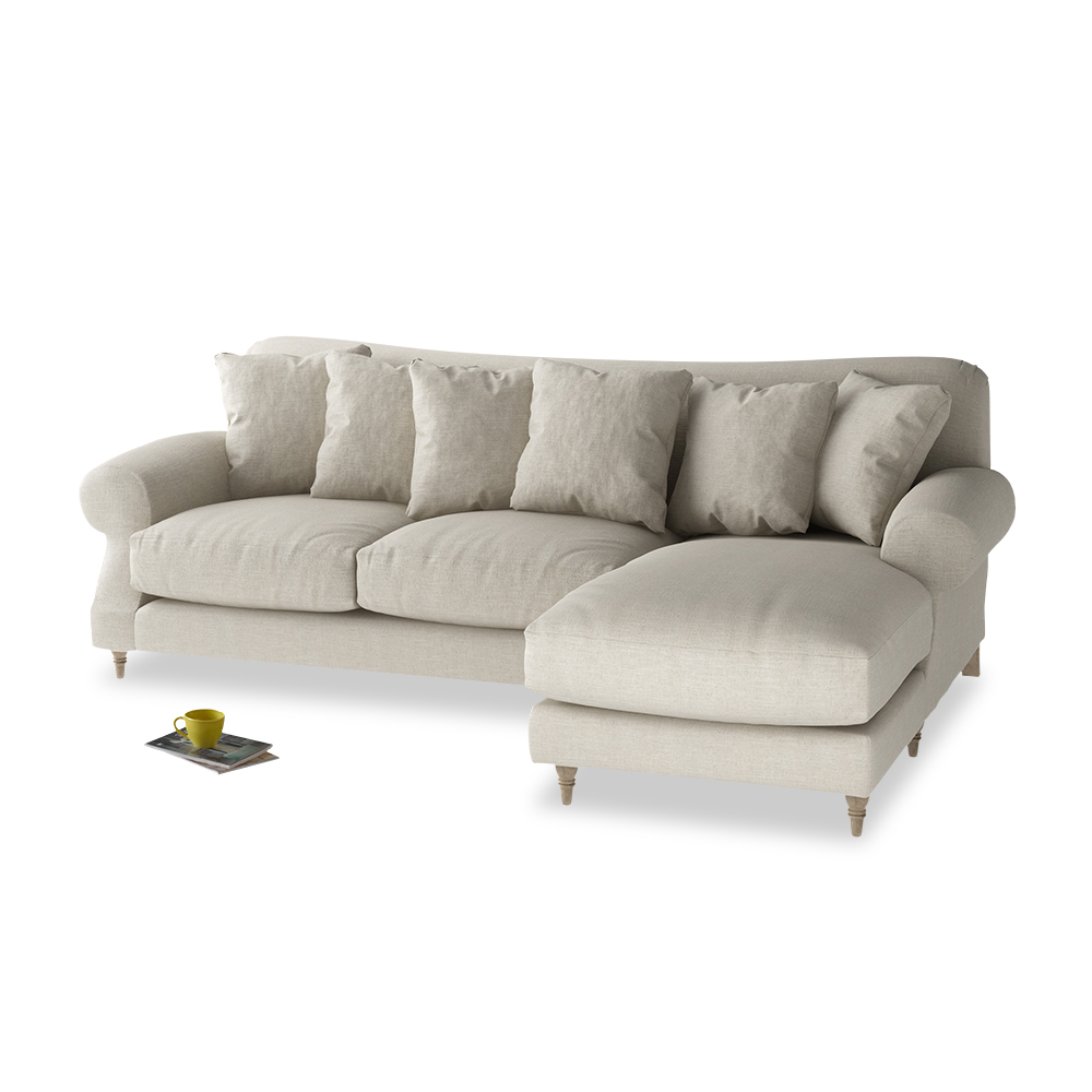 Stupendous Large Right Hand Crumpet Chaise Sofa In Thatch House Fabric Bralicious Painted Fabric Chair Ideas Braliciousco